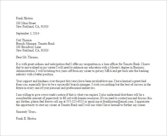 Resignation Letter Format 161