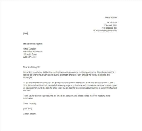 Resignation Letter Format 4