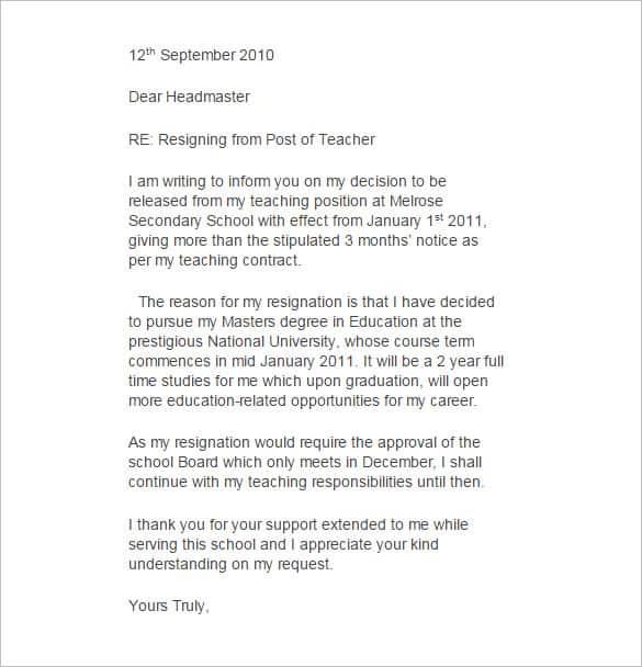 Resignation Letter Format 74