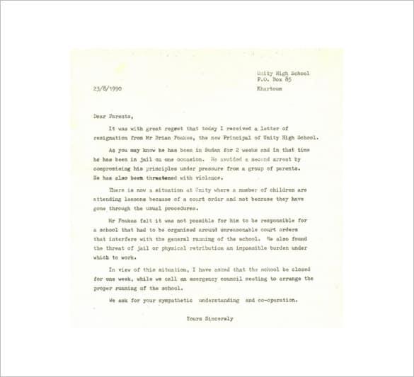 Resignation Letter Format 841