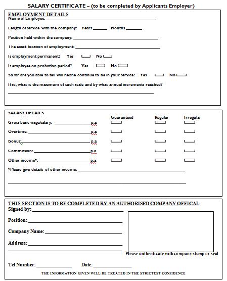 Salary Certificate Formats 1641