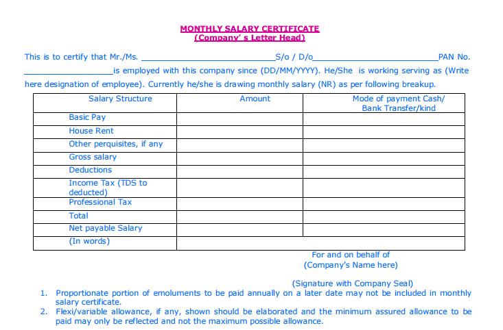 Salary Certificate Formats 6641