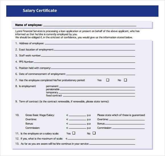 6+ Salary Certificate Formats - Website, Wordpress, Blog
