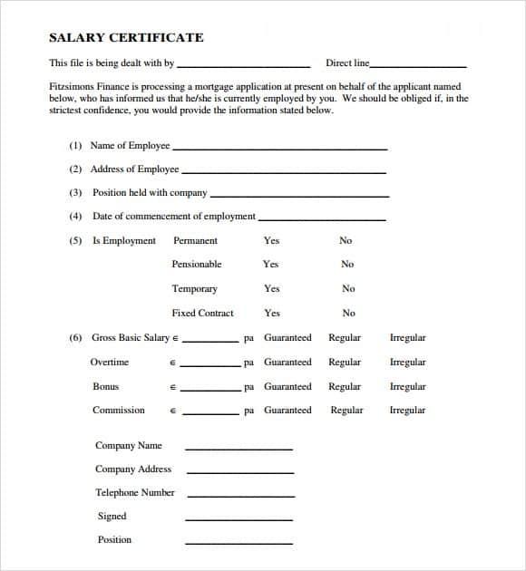 Salary Certificate Formats 941