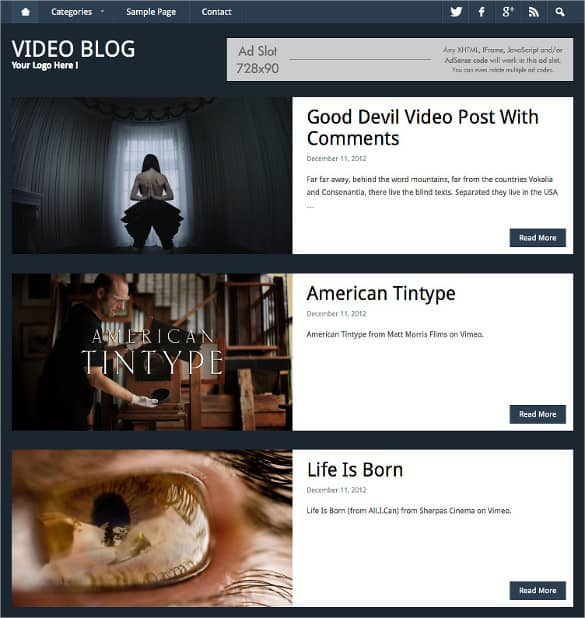 Video Website Templates Free 941