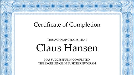 certificate format 941