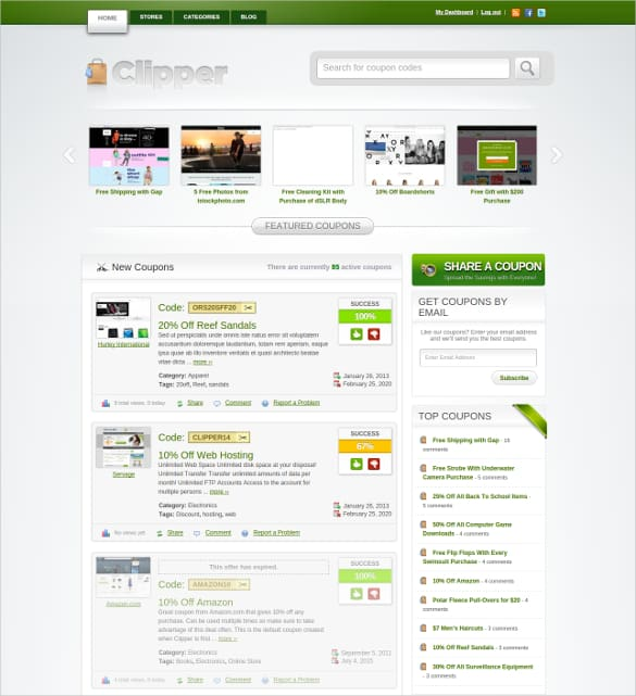 coupon website template 841