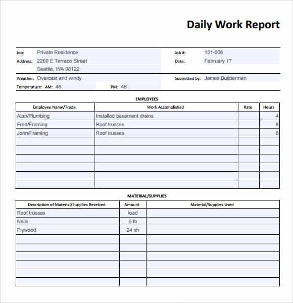 daily report template 49461