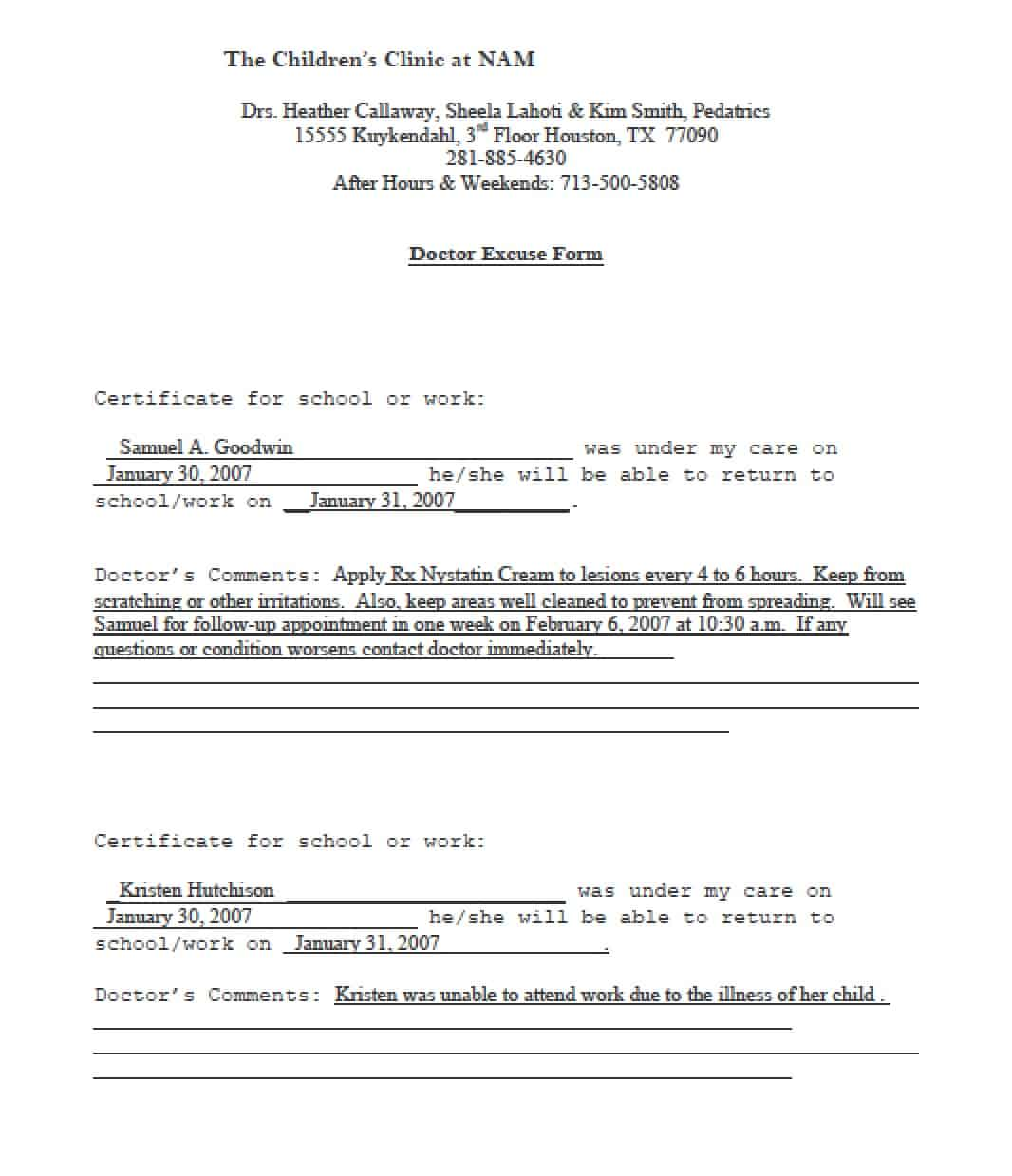 doctors note template 10