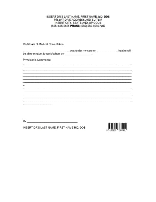 doctors note template 941