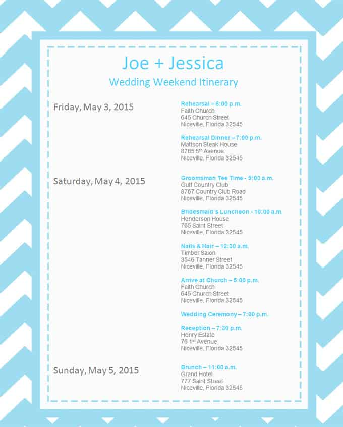 event itinerary template 894