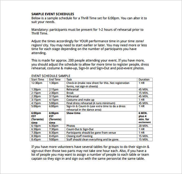 event itinerary template 9