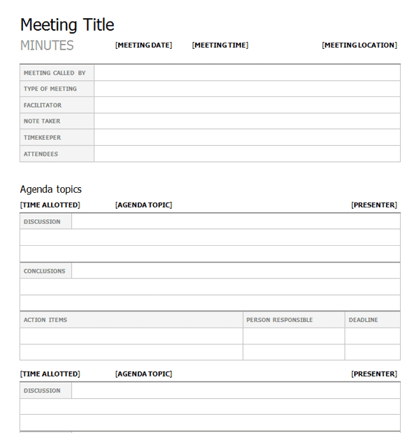 meeting minutes template 5641