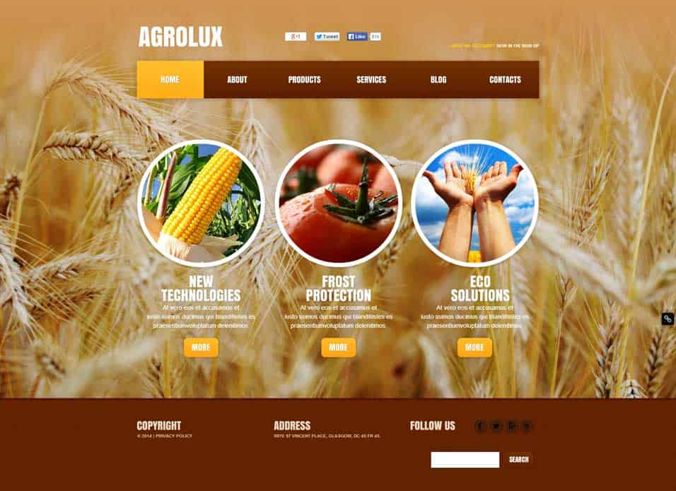 Agriculture Website Templates Free 674