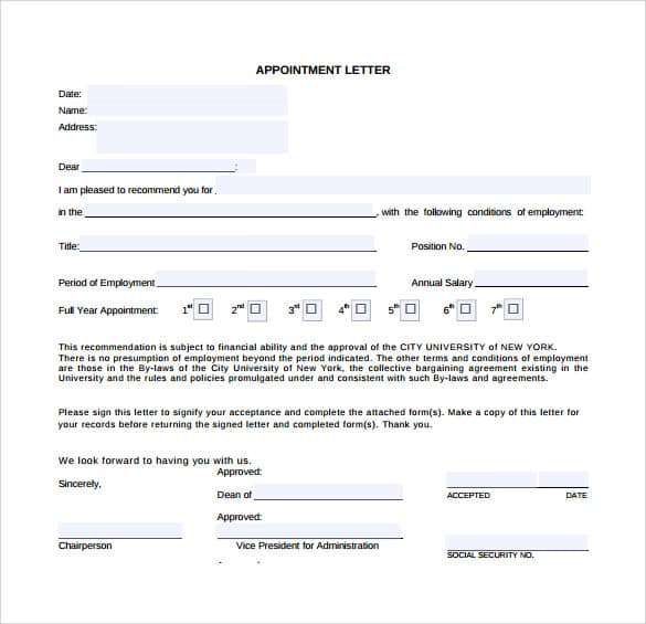8 Free Appointment Letters Templates Samples – Job Appointment Letter