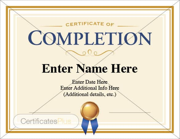 certificaet of completion 364