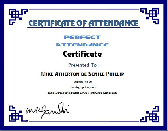 certificate of attendance template 264