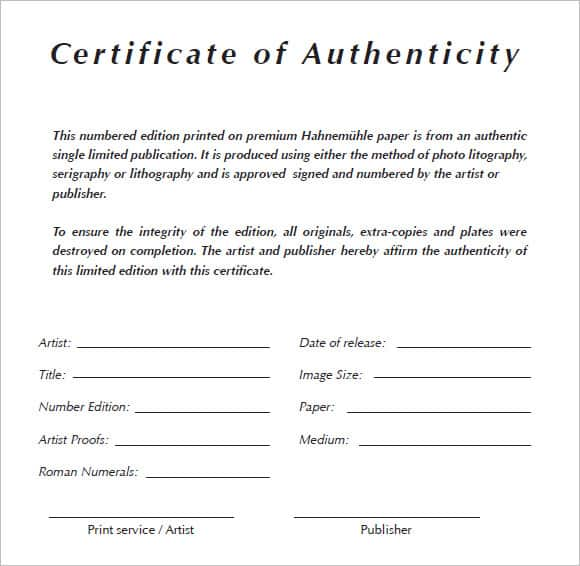 artist certificate of authenticity template - 6 certificate of authenticity templates website