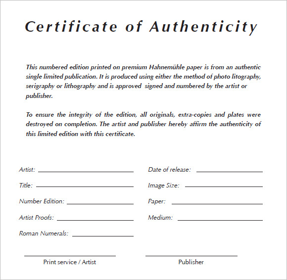 certificate of authenticity template experimental