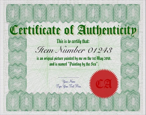 certificate of authenticity 741