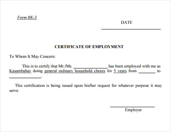 6+ Certificate Of Employment - Website, Wordpress, Blog