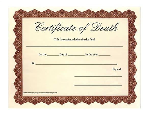 death certificaet template 3964