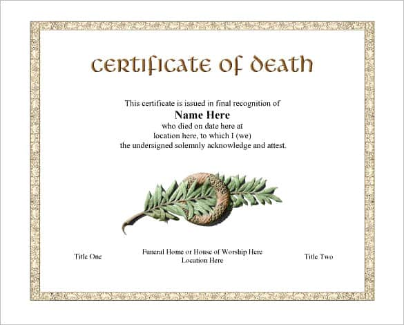death certificaet template 41