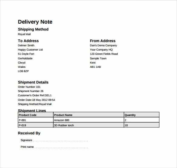 delivery note template 8946