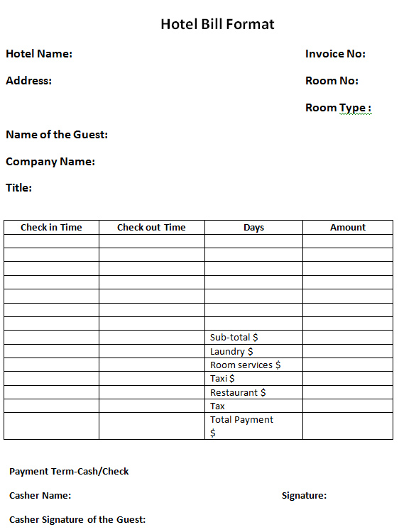 hotel bill format in word 41