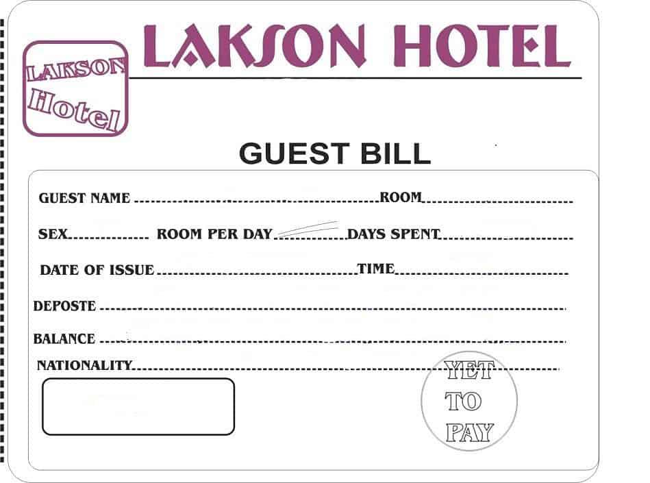 hotel bill format in word 6461
