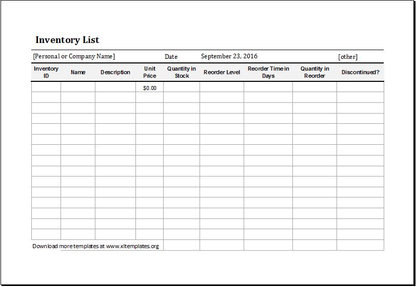inventory list 6