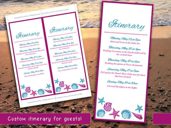 itinerary template 794