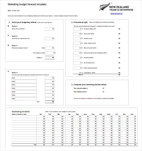 marketing budget template 330