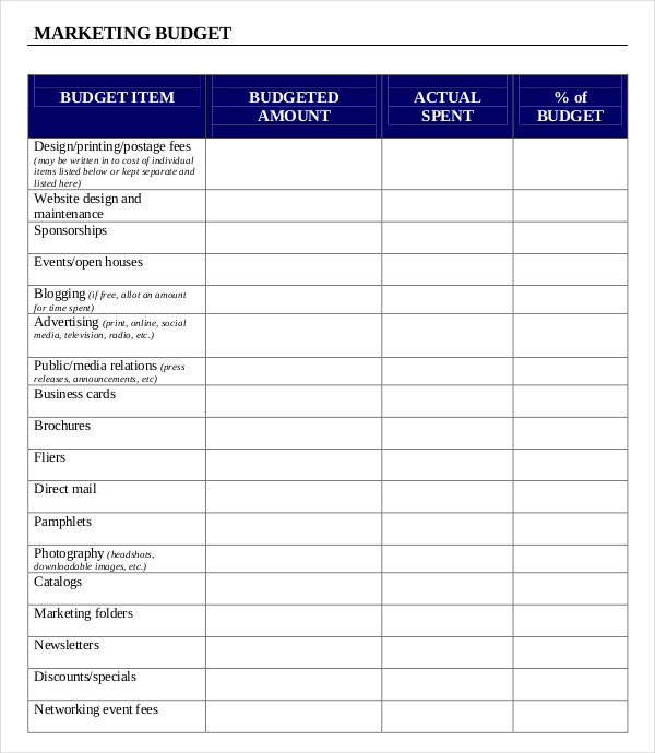 marketing budget template 880