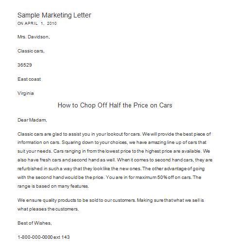marketing letter sample 264