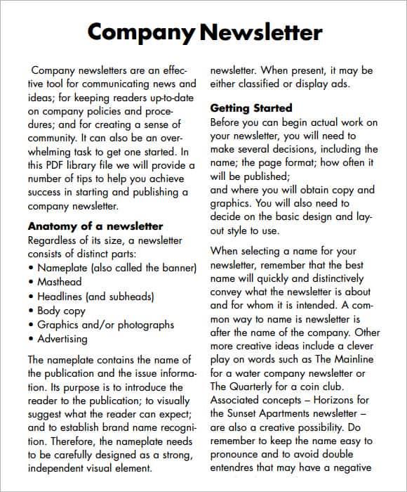 newsletter template 641