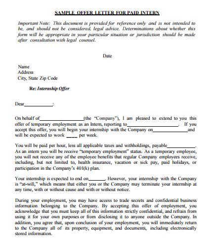 offewr letter 660