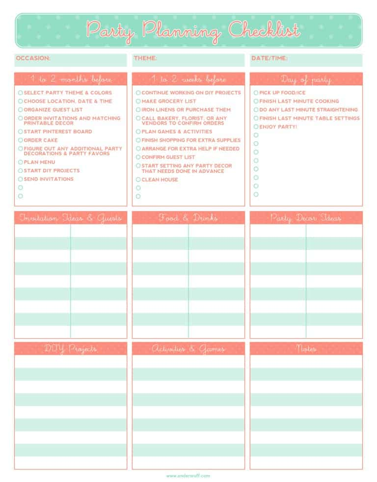 party planning template 264