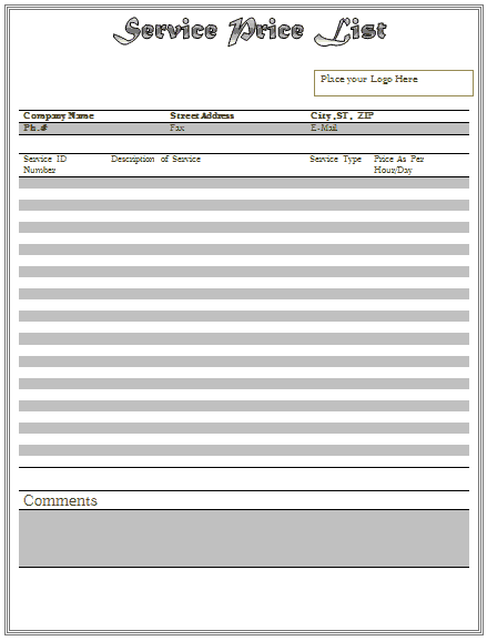 price list template 2461