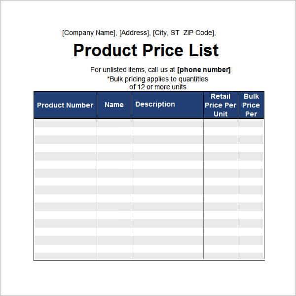 price list template 31