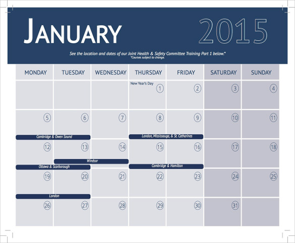 training calendar template 341