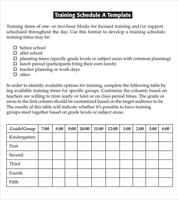 training calendar template 8941