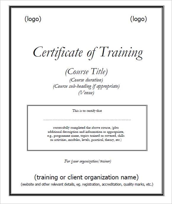 training certificate template 294