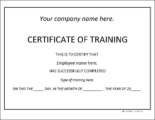 Doc400309 Free Training Certificate Template Training – Training Certificate Template Free