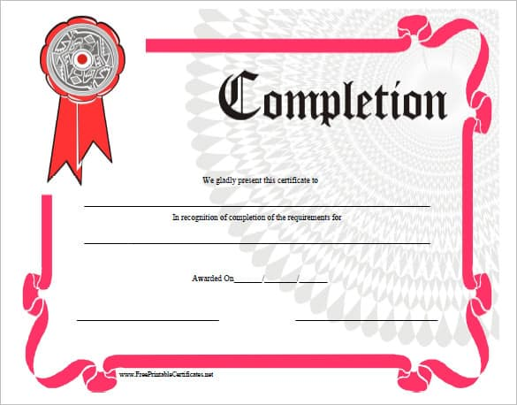 work completion certificate format 770