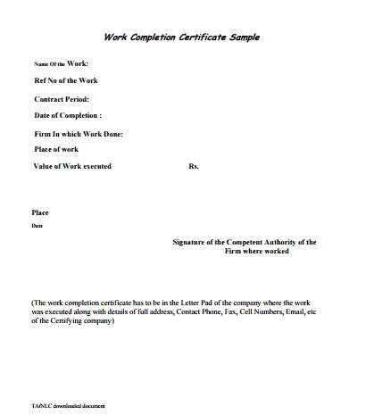 Work done certificate sample 6 work completion certificate formats in word website yadclub Gallery