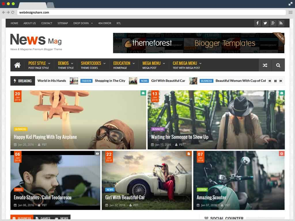 6 News Mag Blogger Templates Website Wordpress Blog