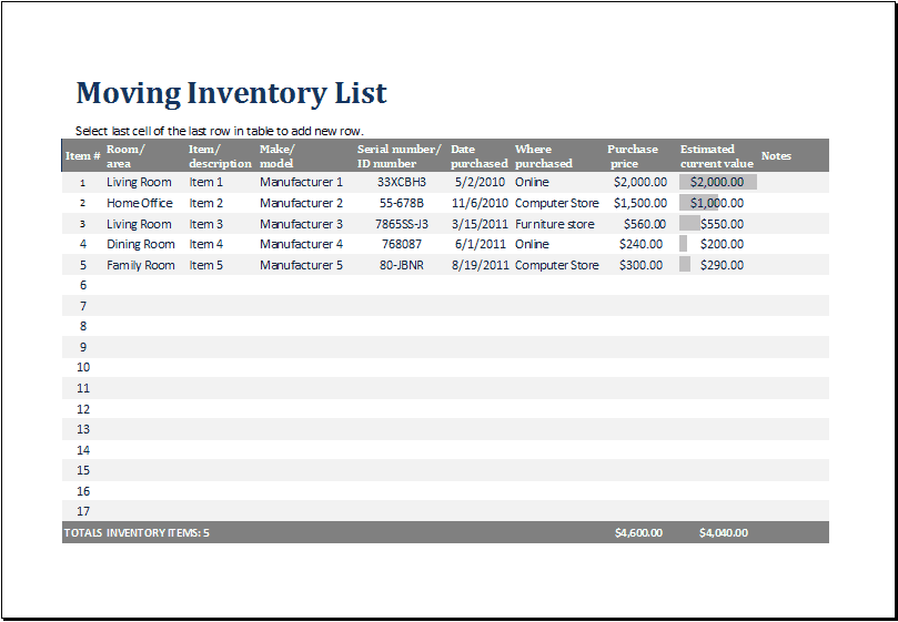 inventory list template 72
