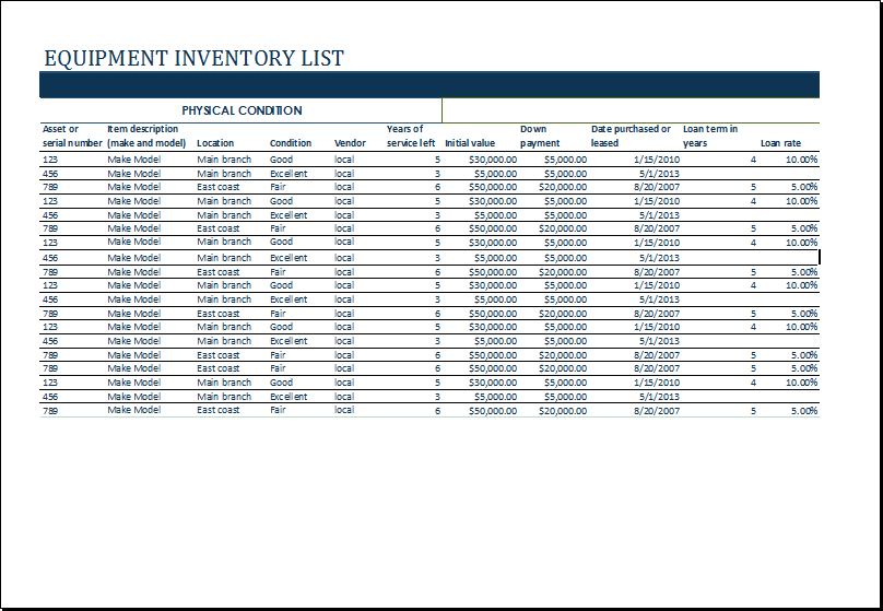 inventory list template 82
