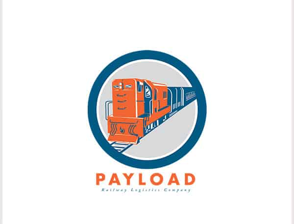 Payload Railway Logistics Logo. Logo showing illustration of a diesel train viewed from front set inside circle on isolated white background done in retro style. 100% re-sizeable vectors. Logo available in vector EPS and AI formats. Fonts and color easy to customize.  Fonts used: Futura Bold http://www.myfonts.com/fonts/bitstream/futura/bold/ and  Adobe Caslon Pro Italic (system font0